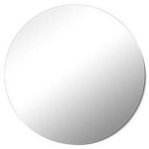 Homestyle Spiegel Madrid Rund Ø 60cm Hochwertig verarbeiteter Kristallspiegel Wandspiegel 60x60cm Rahmenlos inkl. Klebebleche Made in Germany