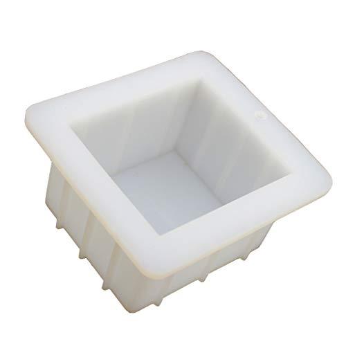 KY-Bored Molde cuadrado de silicona para hacer jabón de 10,16 cm, hecho a mano, jabón de silicona