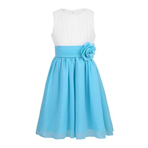 TiaoBug Festliches Mädchen Kleider für Hochzeit Sommer Brautjungfern Blumenmädchen Kinder Chiffon Kleid elegant zweifarbig Partykleid gr. 104-164 Weiß&Hellblau 116