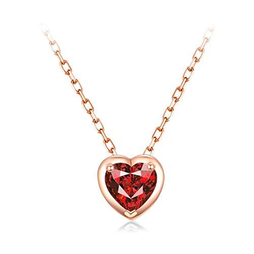 Daesar Colgante Oro 18K Rosa,Collares Mujer Oro Rosa Corazón con Rubí Rojo 0.2ct