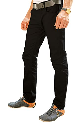 Pantaloni Elasticizzati Uomo Milano 5 Tasca, Stile Jeans in Cotone 260 gm - Business Classic Security Guard Camerieri Security - KERMEN - Made in UE - Nero 28
