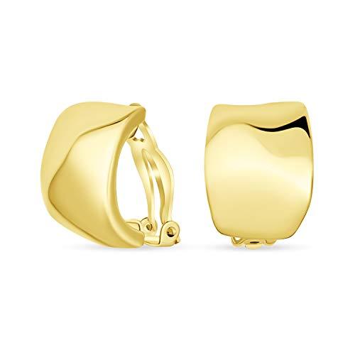 Geometrische Gehämmert Kuppel Halb Creolen Clip Auf Ohrringe Für Frauen Nicht Durchbohrt Ohren Poliert 14K Vergoldet Messing