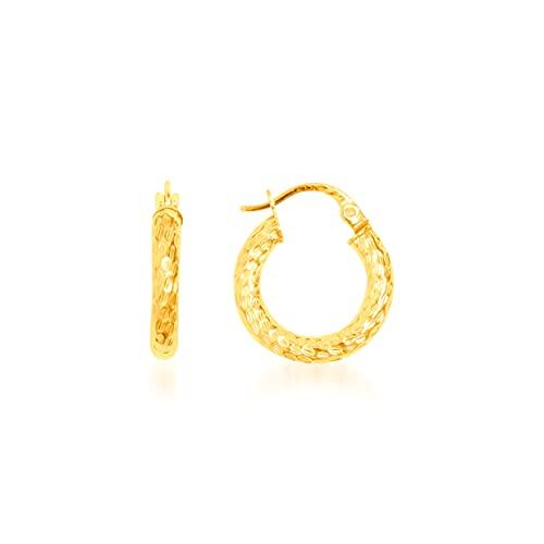 Pendientes de aro redondos de hilo rayado, 16 mm/3 mm, oro amarillo 9 KT (375) 1,1 g.