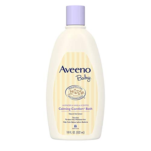 Aveeno Baby Calming Comfort Bath with Relaxing Lavender & Vanilla Scents, Hypoallergenic & Tear-Free Formula, Paraben- & Phthalate-Free, 18 Fl Oz (Pack of 1)