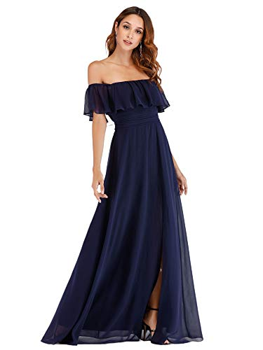 Ever-Pretty Damen A-Linie Abendkleid schulterfrei Schwarzblau 36