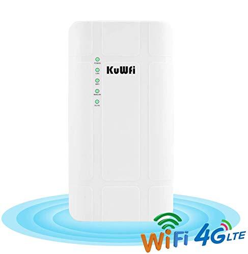 KuWFi Router CPE 4G LTE da Esterno Impermeabile 300 Mbps Adattatore Poe Router CAT4 LTE Router 3G / 4G SIM Card WiFi per Telecamera IP/Copertura WiFi Esterna