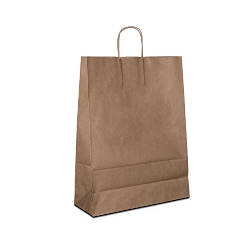 250 x Recycling Taschen 32+12x41 cm braun | Papiertüten Recyclingpapier mit Kordelhenkel | Altpapiertüten | HUTNER