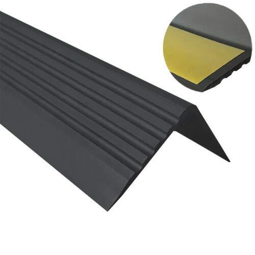 Treppenkantenprofil PVC Gummi SELBSTKLEBEND Vinyl Winkelprofil 50x42 RGP (SCHWARZ) 150CM