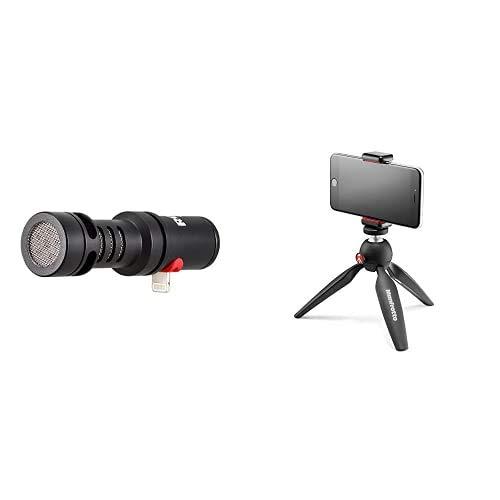 Rode microphones VMMLMicrofono direzionale compatto iOS con connettore Lightning VideoMic Me-L, 19,5dBA & Manfrotto MKPIXICLAMP-BK Pixi Treppiedi da Tavolo con Staffa per Smartphone, Nero