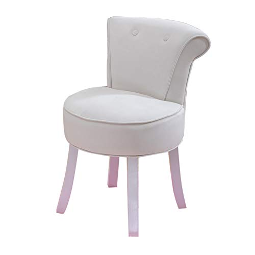 Comfortable Chair Vanity Stool with Button tufted backrest,Cushioned Stool with Solid Wood Legs,Lounge Stool/Makeup Stool/Baroque Piano Chair,for Baby Room/Study Room/Living Room/Bedroom Leisure Cha