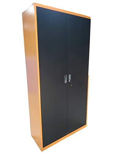 METALLMOBELL-MB013 NARANJA. ARMARIO-ARCHIVADOR METÁLICO DE DOBLE PUERTA 90x38x200CM, 4 ESTANTES INTERIORES,CERRADURA CON LLAVE DE SEGURIDAD Y PATAS DE NIVELACIÓN (NARANJA/NEGRO)
