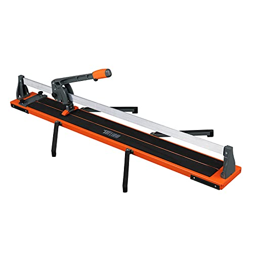 TUFFIOM 48 Inch Manual Tile Cutter with Ergonomic Handle & Tungsten Carbide Cutting Wheel, Porcelain Ceramic Floor Tile Cutter Machine with Anti-Skid Feet and Removable Scale