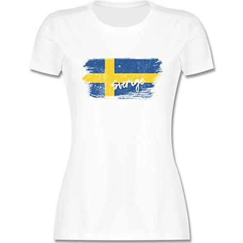 Fußball-Europameisterschaft 2021 - Schweden Vintage - L - Weiß - Trikot schweden Damen - L191 - Tailliertes Tshirt für Damen und Frauen T-Shirt