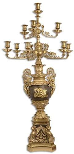 Casa Padrino portavela Barroco Oro/Bronce 62 x 62 x A. 122,5 cm - Magnífico portavela de Bronce bañado en Oro 10 Llamas - Noble y Magnífico