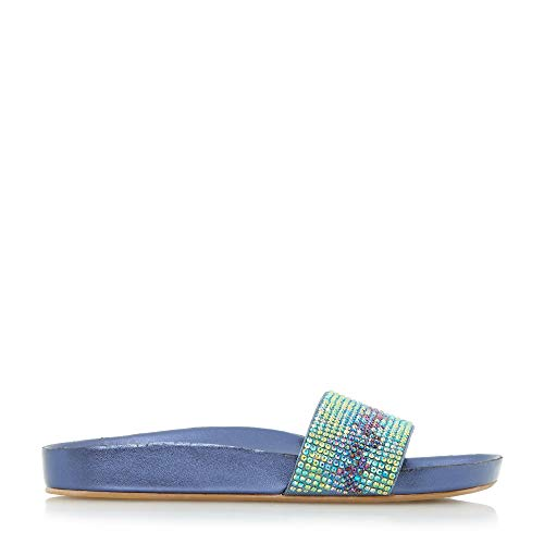 Dune Damen LAIZER Sandale mit Zickzackmuster und Verzierung Blau Größe EUR 36 Blau Flacher Absatz