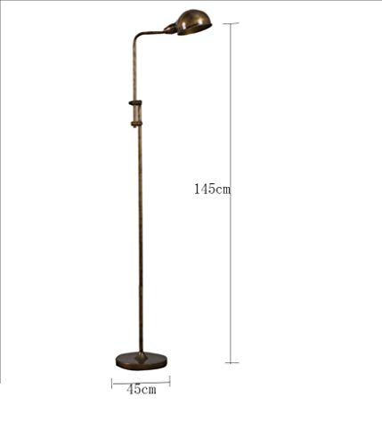 D02 Flooramp, Eenvoudige Verticale Tableamp Amerikaanse Dorp Slaapkamer Studie Vloerbedekking Brons 45 & Tijden; 145Cm Verstelbare Hoogte Afneembaar met Schakelaar Vloer
