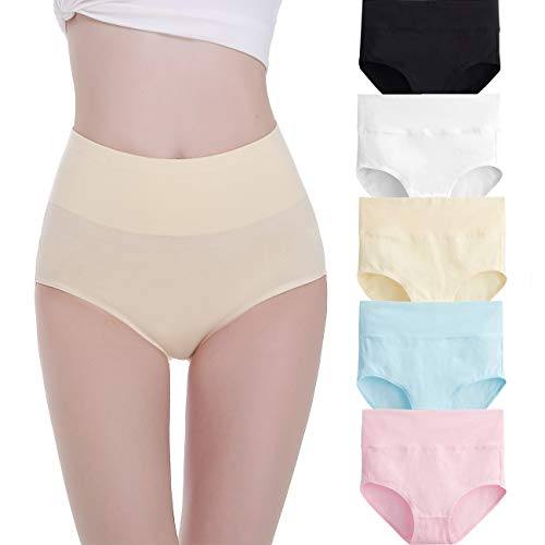 FALARY Unterhosen Damen Baumwolle Hohe Taille 5er Pack L Mehrfarbig