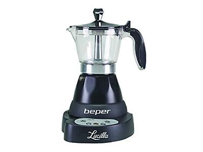 Beper - Lucilla Cafetera Eléctrica de Aluminio Programable de 3 Tazas, Temporizador, Café Caliente durante 30 minutos, Programable hasta 24 h, Negro
