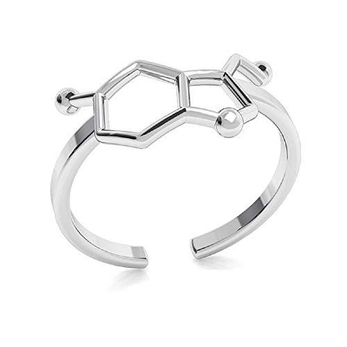 *Beforya Paris* - Anillo de plata 925 - *Serotonina * * * Fórmula química * - Anillo de plata de ley 925 para mujer, tamaño ajustable PIN/75