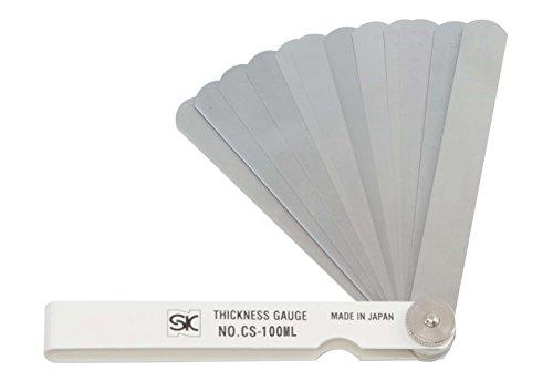 新潟精機 SK シクネスゲージ(すきまゲージ) カラースリーブタイプ 白 19枚組 100mm CS-100ML 0.01-1.00mm