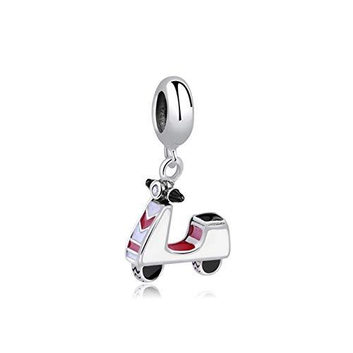 JINSUO 100% Originali Gioielli Charms Sterling Silver Bead Charm Viaggi Bus Motorcycle Ferris Wheel Braccialetti Misura Donne DIY (Colore : Motor Scooter)