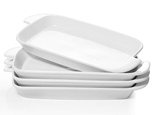 DOWAN Serving Platter, 10 inches Porcelain Platter with Handle, White Dinner Plates Rectangular Set...