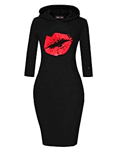 MAGICMK Women Long Sleeve Print Lips Slim Fitted Knee Length Sweatshirt With Pocket Casual Pullover Hoodie Dress (HBLACK+RED, L) by