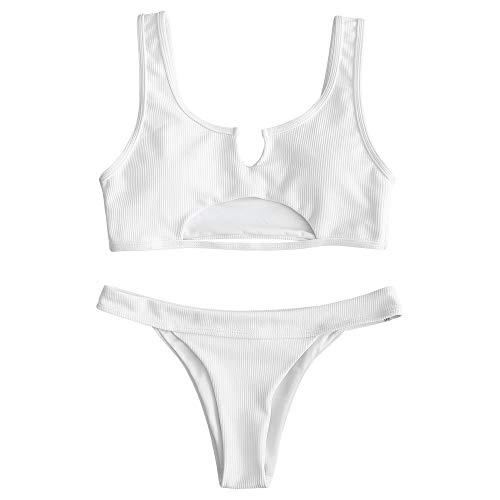 ZAFUL Zweiteiliger Bikini Set, Bralette Wrap Bikinioberteil Hohlweste Hoch Taille Unterteil für Damen
