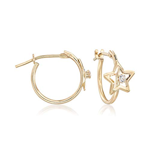 Ross-Simons Child's 14kt Yellow Gold Open-Space Star Hoop Earrings With CZ Accents