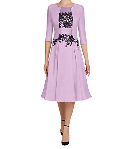 Charmant Damen 2020 Neu Knielang Kurzes Brautmutterkleider Abendkleider Partykleider mit 3/4 Langarm Bolero Festlichkleider-38 Flieder