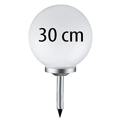 Grafner® Solarkugel Ø30 cm | LED | mit Erdspieß | Wegleuchte Gartenlampe Kugelleuchte LED-Leuchte Gartenleuchte Solar Kugel