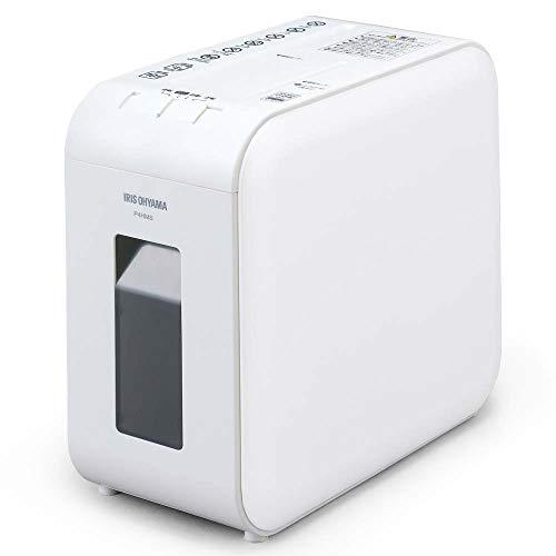 アイリスオーヤマ 静音シュレッダー 超静音 家庭用 細断枚数4枚 マイクロクロスカット 連続使用10分 CD/DVD/BD細断可能 ダストボックス7.5L A4/100枚収容 P4HMS-W ホワイト