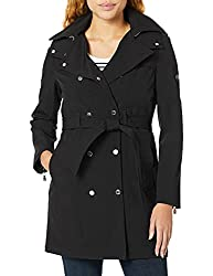"""Calvin Klein Womens Double Breasted Belted Rain Jacket with Removable Hood"""