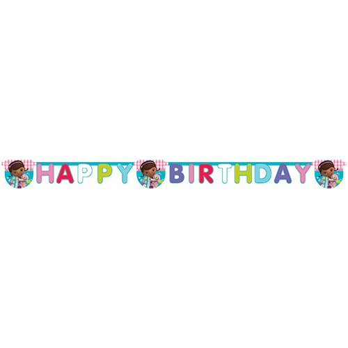 Party Bags 2 Go Striscione compleanno, scritta in inglese, Happy Birthday, Doc McStuffins