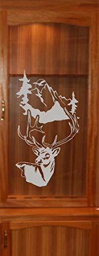 StickerChef Deer Buck Mountains DIY Etched Glass Vinyl Gun Cabinet Window Front Door GC06B