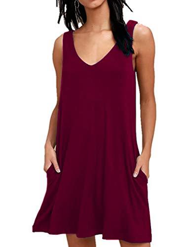 AUSELILY Damen Sommerkleid V-Ausschnitt Strandkleid Ärmellos Swing Kleider mit Taschen Weinrot XXL