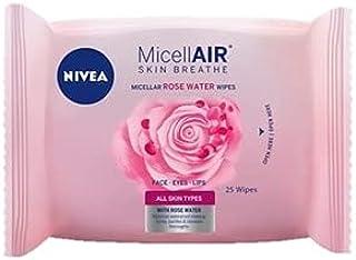 مناديل تنظيف الوجه روز كير ميسيلار بماء الورد المطهر مناسبة لجميع انواع البشرة من نيفيا 25 منديل
