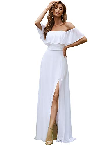 Ever-Pretty A-línea Vestido de Boda Verano para Mujer Blanco 42