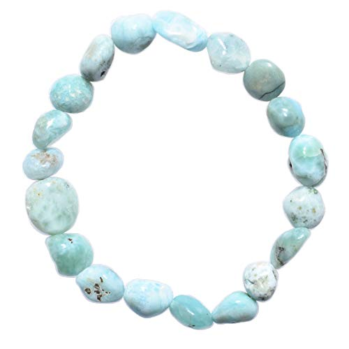 Zenergy Gems Premium Grade Natural Larimar Stretchy Bracelets + Selenite Heart Charging Crystal (Natural Nugget Brazil)