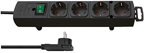 Brennenstuhl Comfort Line regleta de enchufes con 4 tomas de corriente para montaje (cable de 2 m, interruptor iluminado, montable. enchufe plano) negro