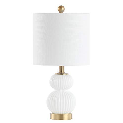 JONATHAN Y JYL1099A Daphne - Lámpara de mesa LED de metal y cristal, estilo contemporáneo, transicional para dormitorio, sala de estar, oficina, color blanco y latón dorado
