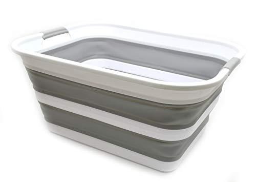SAMMART Collapsible Plastic Laundry Basket - Foldable Pop Up Storage ContainerOrganizer - Portable Washing Tub - Space Saving HamperBasket Grey 1