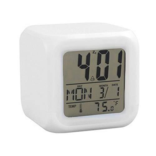 Nrew Reloj Despertador Digital Cuadrado con Cambio de 7 Colores portátil con Pantalla LCD para Uso en el hogar Blanco