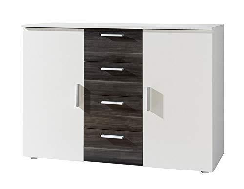 Furniture24 Kommode Vera - 26, Sideboard mit 4 Schubladen und 2 Türen (Weiß/Nußbaum Schwarz)