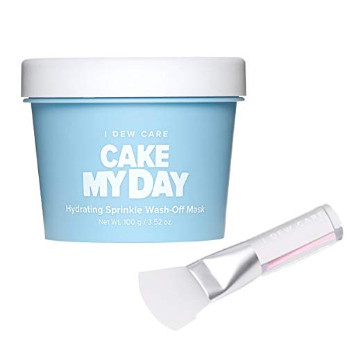 I DEW CARE Cake My Day Hydrating Sprinkle Wash Off Facial Mask + Soft Silicone Face Mask Brush Bundle