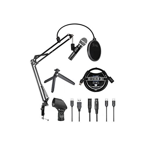 Audio Technica ATR2100x-USB Cardioid Dynamic Microphone (ATR Series) for Voiceover, Podcasting and Studio Recording Bundle with Blucoil Boom Arm Plus Pop Filter, and 3' USB Extension Cable