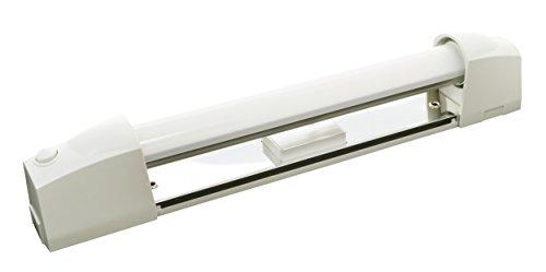 Tibelec 311930 Applique Salle de Bain Blanche avec Tube LED, Plastique, 6 W, Blanc, diffuseur + Interrupteur + Prise