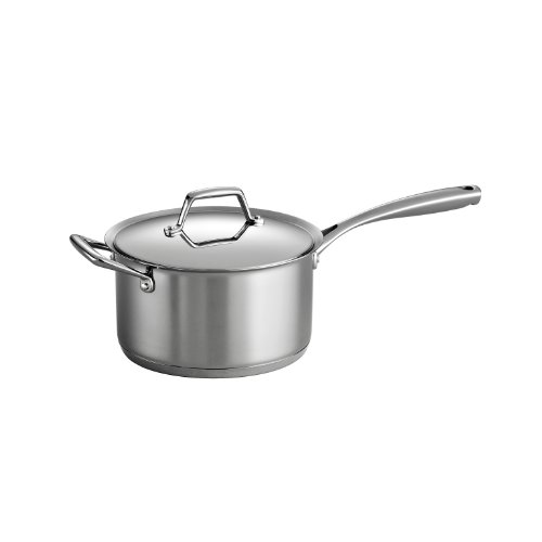 Tramontina 80101/026DS Gourmet Prima Stainless Steel, Induction-Ready, Impact Bonded, Tri-Ply Base Covered Sauce Pan, 4 Quart, Made in Brazil