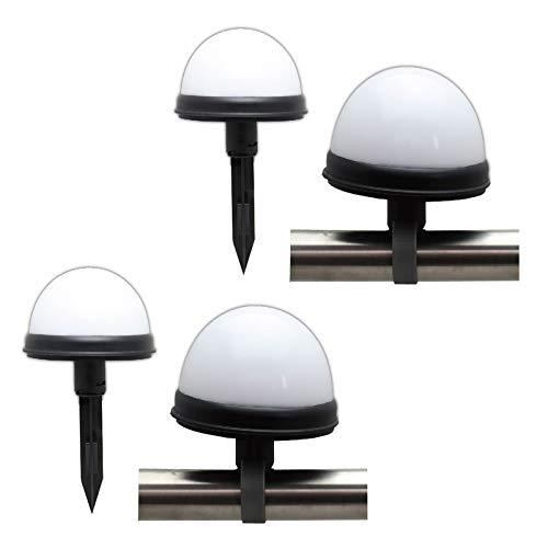 4er Set LED Solarleuchte Geländer Zaun Solar Lampe Kugelleuchte Gartenlampe Außenleuchte Solarlampe Garten Solarkugel Kunststoff