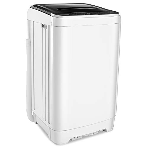 Nictemaw Washing Machine, 15.6Lbs Capacity Full-Automatic Portable Washer 1.70 Cu.ft Laundry Washer/Spinner With 10 Programs 8 Water Level Selections&LED Display Compact Washer for Home, Campings